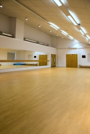 Main Dance/Exercise studio with mirror and barre.